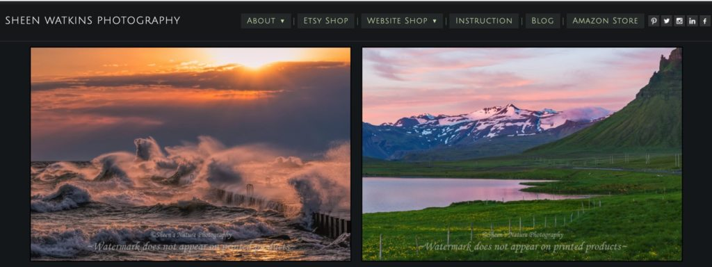 photography website menu