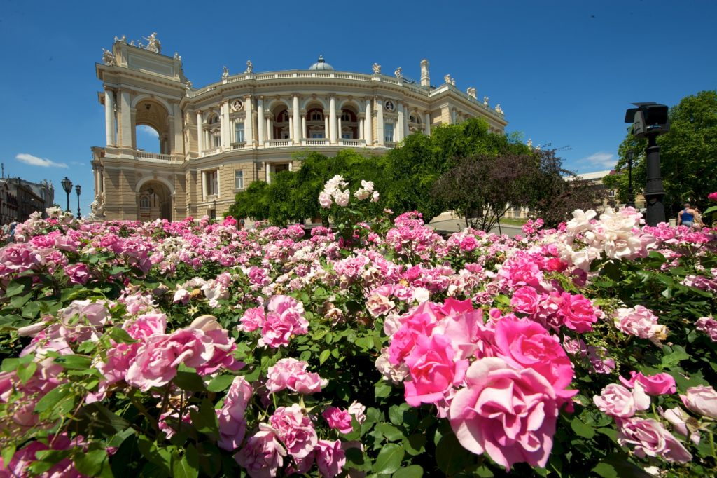 Odessa Opera House with flowers