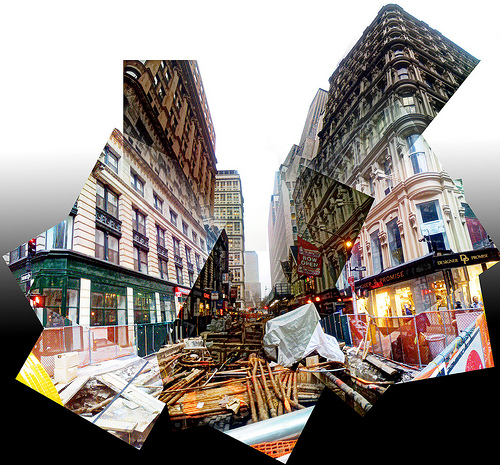 Another kind of panorama of construction on Fulton Street.