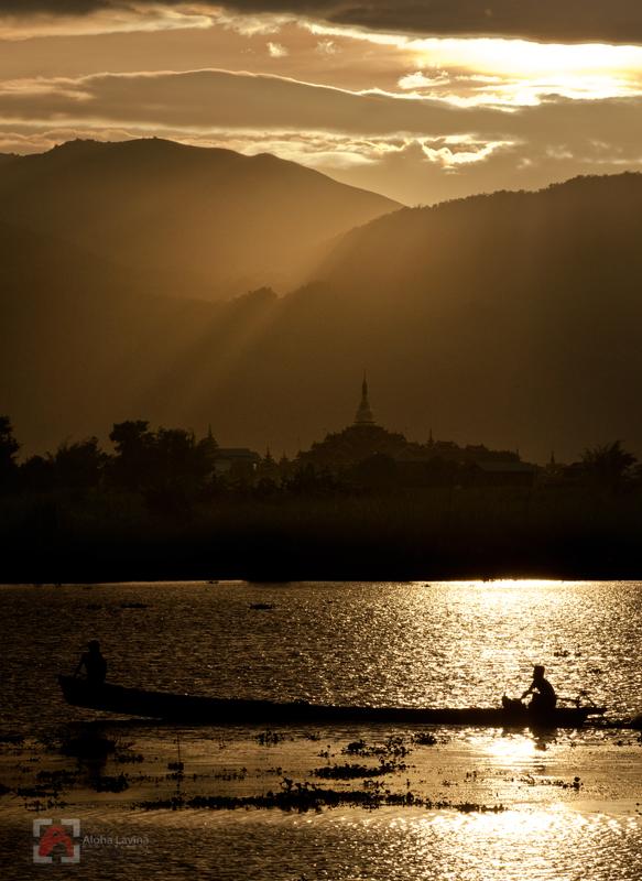 Sunset on Inle Lake Burma copyright Aloha Lavina
