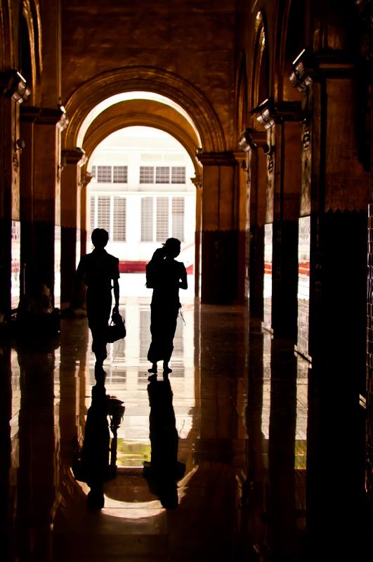 silhouettes in a temple in Burma copyright Aloha Lavina