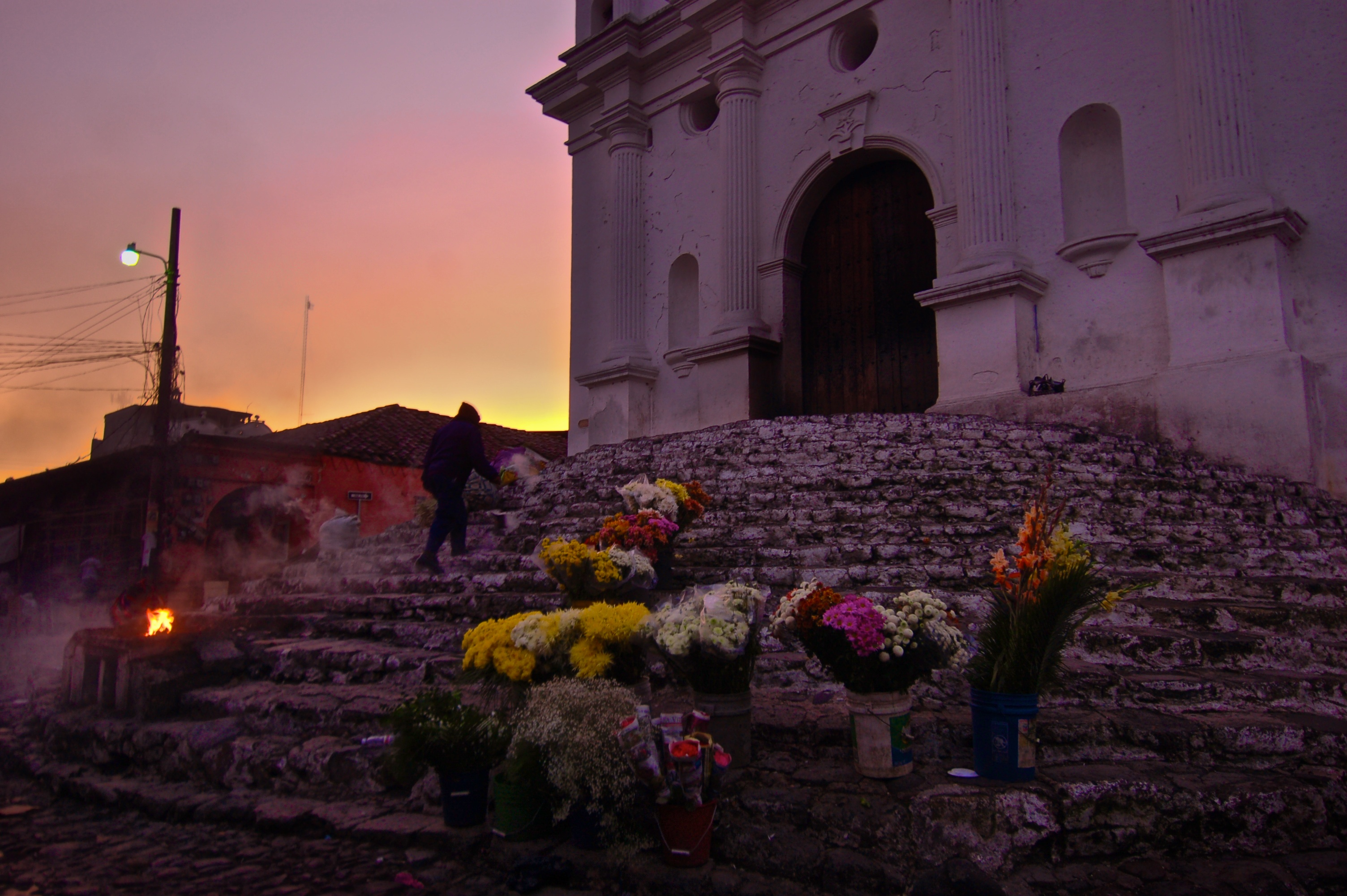 Dawn comes upon the Santo Thomas Church on market day in Chichicastenango.