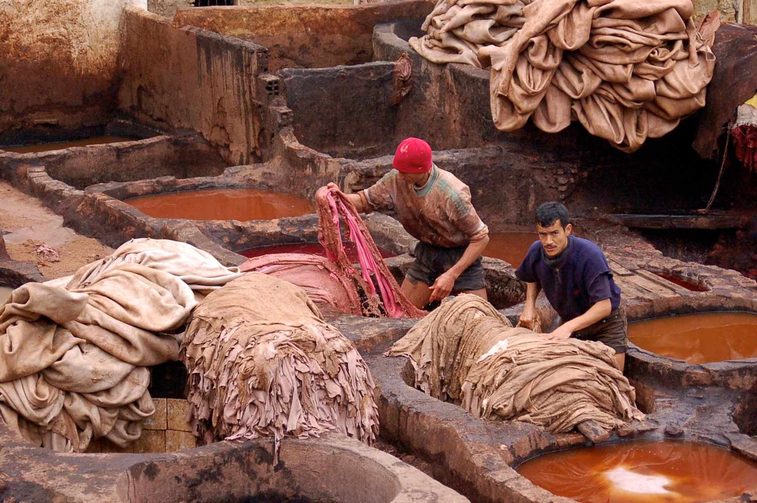Tanneries near the market in Fez Morocco