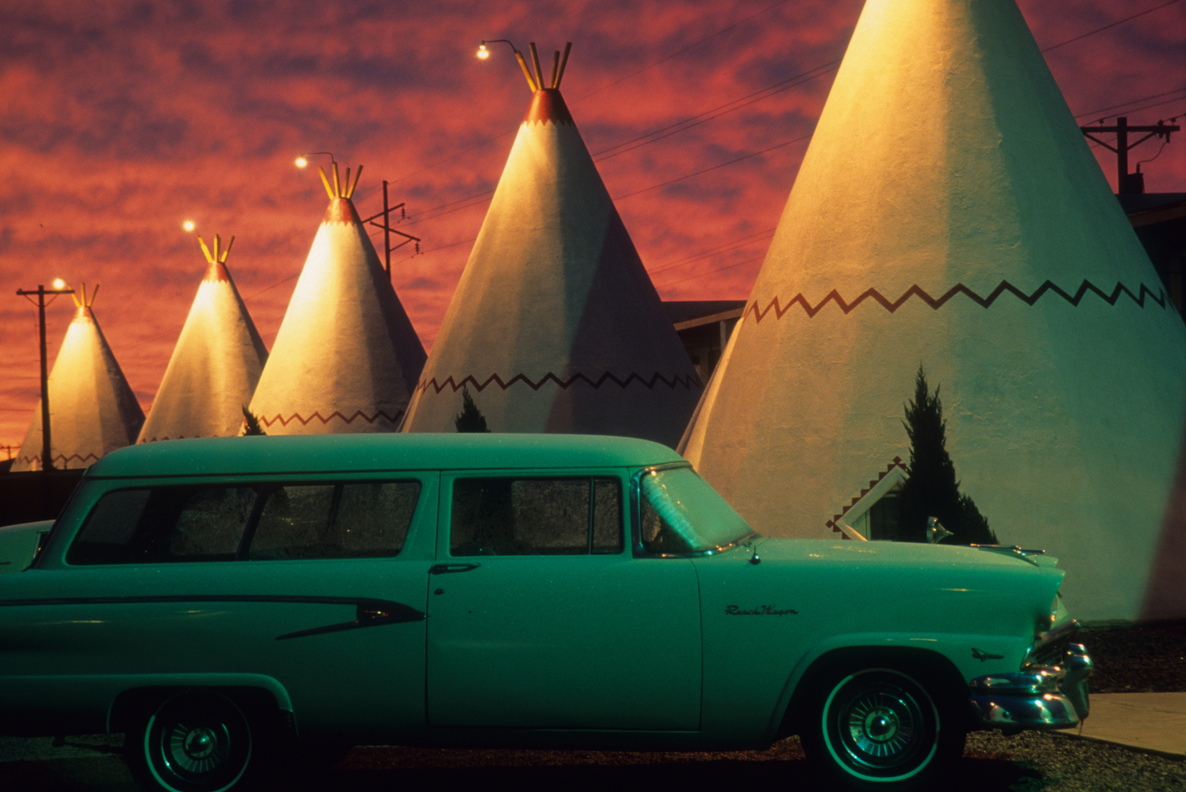 No photographer could ignore the blood shot skies that towered over this 1960's era scene.- Peter Guttman