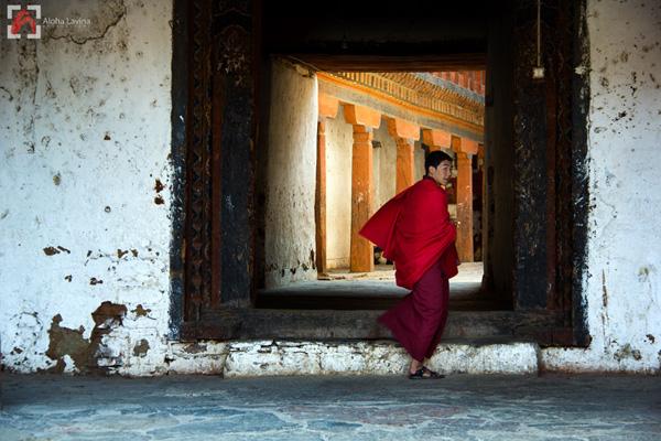 Buddhist novice in Thimpu, Bhutan copyright Aloha Lavina.