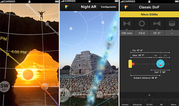 From Left to Right: Live view of Augmented Reality; Live View of Night Augmented Reality; Depth of Field Calculator.