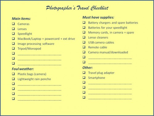 Photographer's Travel Checklist