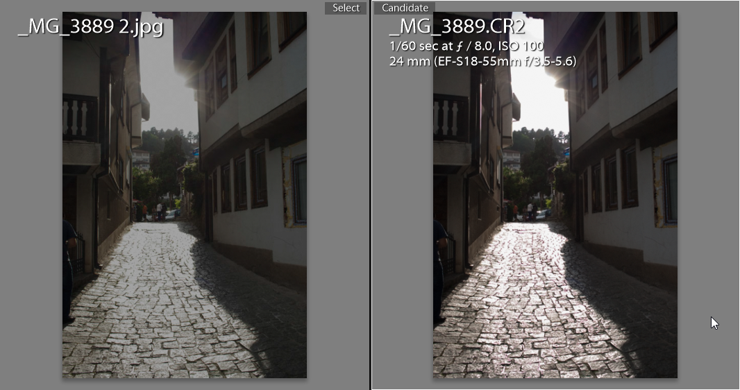 Highlight recovery. Jpeg on the left, raw file on the right.