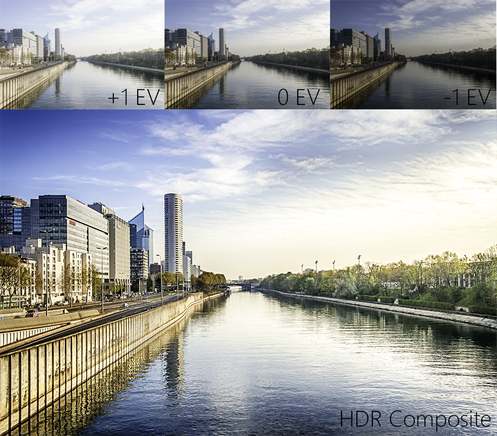 The 3 sample images are blended together through HDR software to create a composite with greater amount of dynamic range