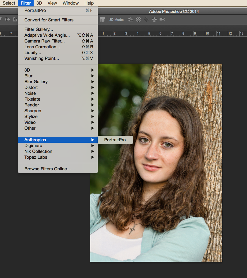 Photograph by Kent DuFault. You can launch Portrait Pro 12 via the Adobe Plugins Menu under the Filters Menu.