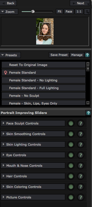 Adjustment sliders allow you to fine tune your effects.