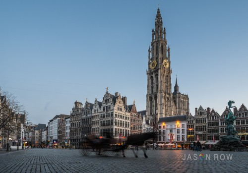Blue Hour view of the Cathedral of Our Lady in Antwerp