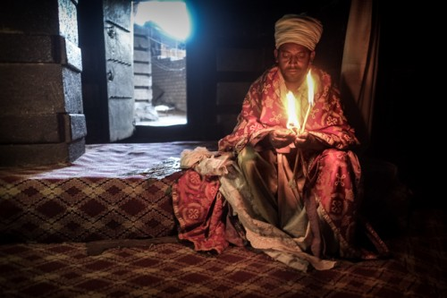 Priest in a temple at Lalibela  Ethiopia