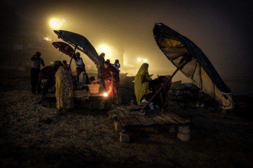 Women in Varanasi after the prayers