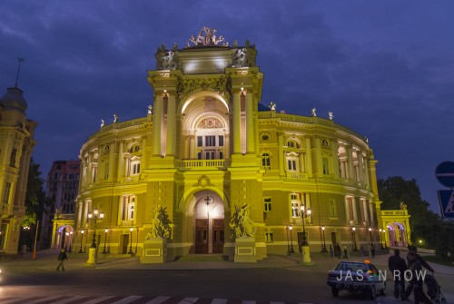 The Odessa Opera House in the Evening