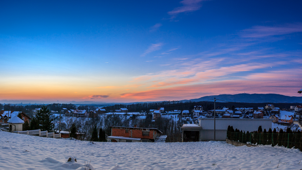 Blue hour panorama shot in Zagreb, Croatia. Photo by Dzvonko Petrovski. All rights reserved.