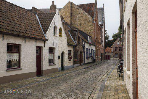 Early Monring ion a back street n Bruges, Belgium