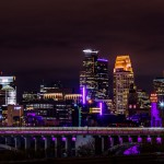 Purple Minneapolis Skyline - RIP Prince by Tony Webster