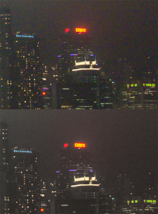The upper image has no Color Noise correction. The lower one has had it added
