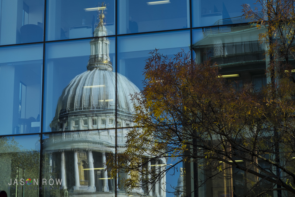 Refelctions of St Paul's Cathedral in a modern London Office Block. By Jason Row Photography