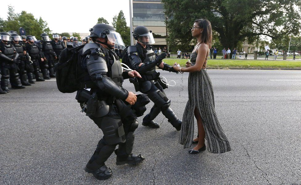 Protestor Ieshia Evans is detained by law enforcement near the headquarters of the Baton Rouge Police Department on July 9. Jonathan Bachman/Reuters