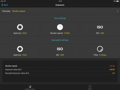 The exposure calculator is particularly useful when using ND filters.