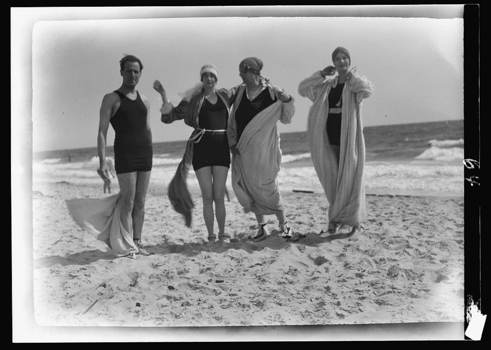 Group of people at Long Beach, New York.