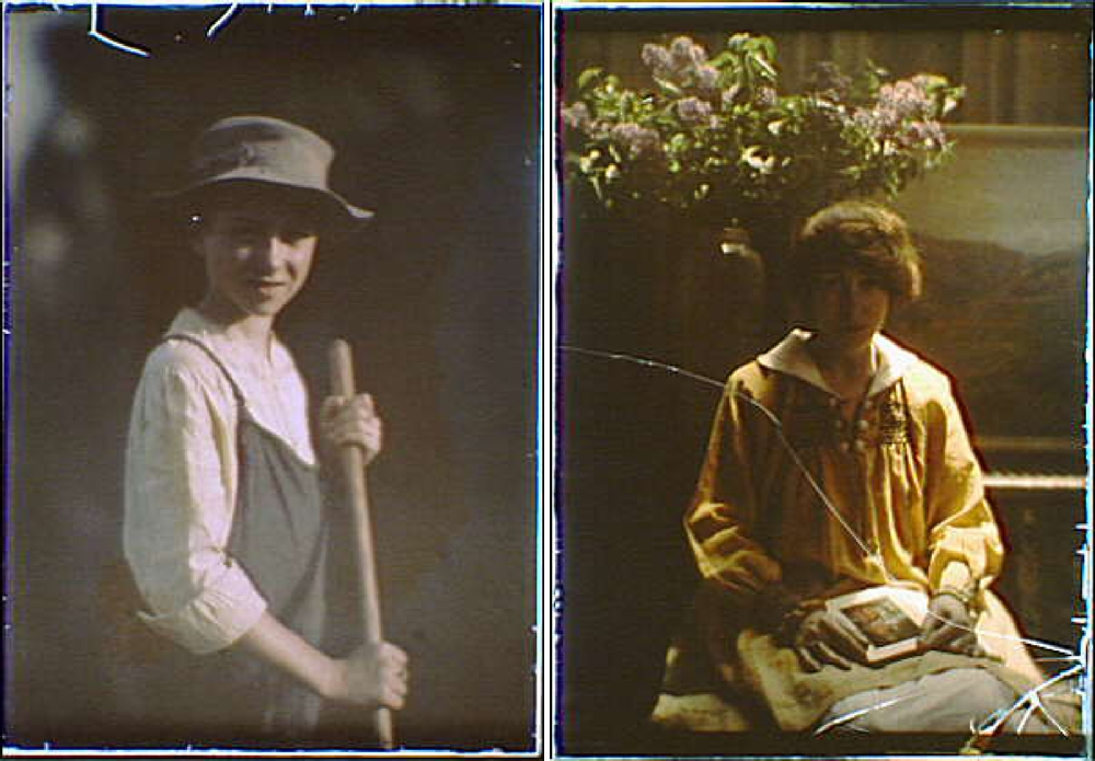 Boy in the gardens of the National Cash Register Company, Dayton, Ohio, Hazel MacKaye, seated with an open copy of her brother Percy MacKaye's play, Sanctuary: A Bird Masque, on her lap