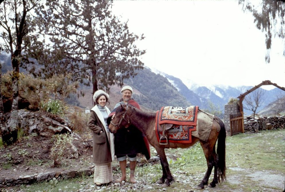 Alice Kandell with villager and horse, Sikkim