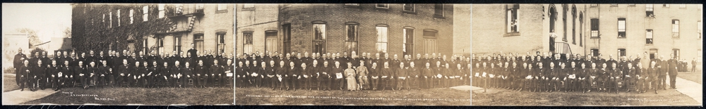 Archbishop Moeller, Bishop Schrembs and members of the local and visiting clergy at Ursulin Convent banquet, Oct. 4, 1911, Toledo, Ohio