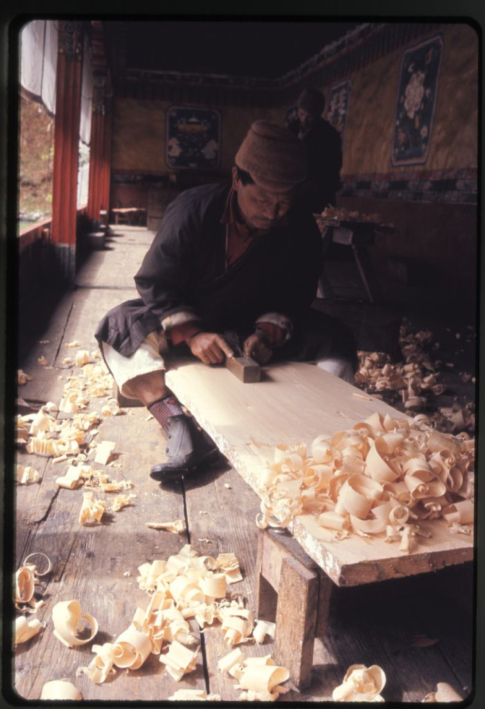Wood carver, Lachung monastery, Sikkim