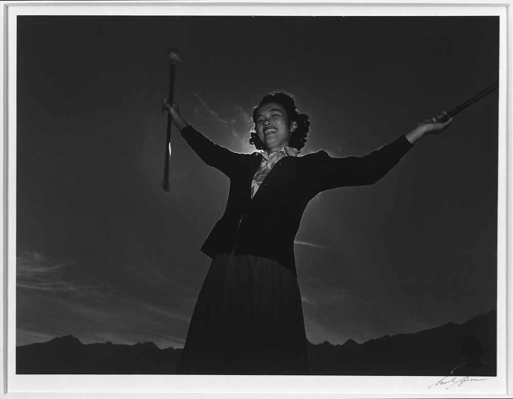 Baton practice, Florence Kuwata, Manzanar Relocation Center