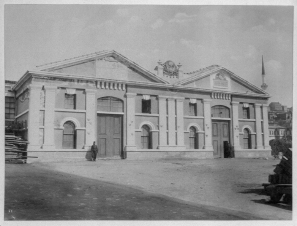 [Front view of the carpentry workshop of the Imperial Tophane Factory] / Constantinople, Abdullah Frères