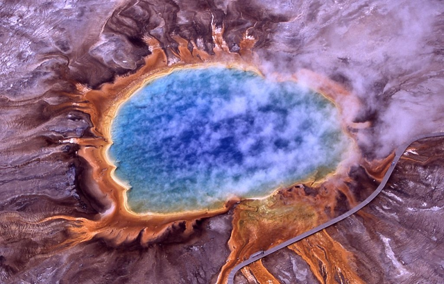 Aerial view of Grand Prismatic Spring; Hot Springs, Midway & Lower Geyser Basin, Yellowstone National Park