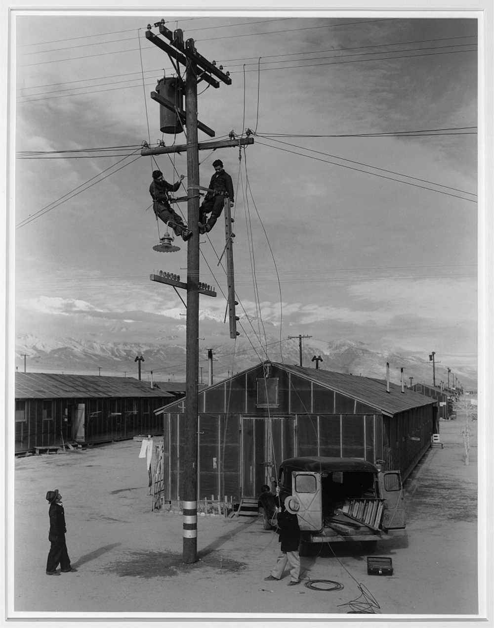 Line crew at work in Manzanar, Manzanar Relocation Center, Manzanar, California