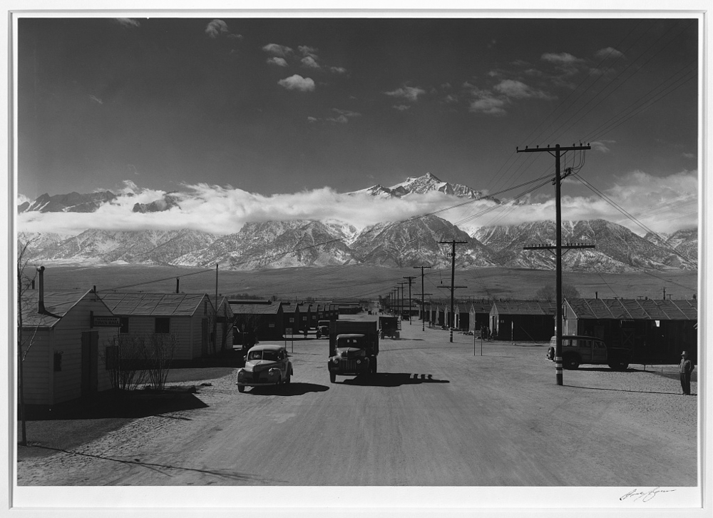 Manzanar street scene, spring, Manzanar Relocation Center