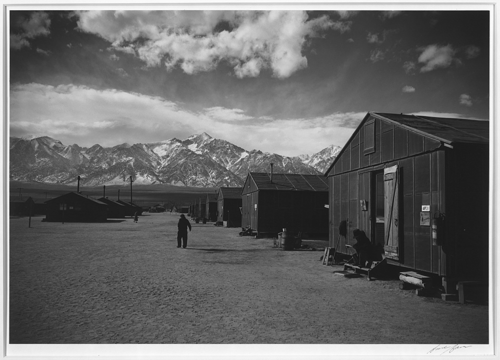 Manzanar street scene, winter, Manzanar Relocation Center