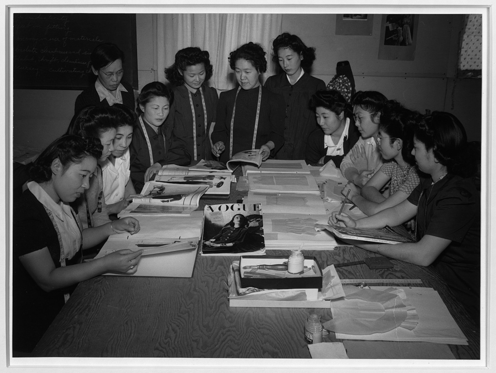 Mrs. Ryie Yoshizawa, teacher of fashion and designing, etc., Manzanar Relocation Center, Manzanar, California