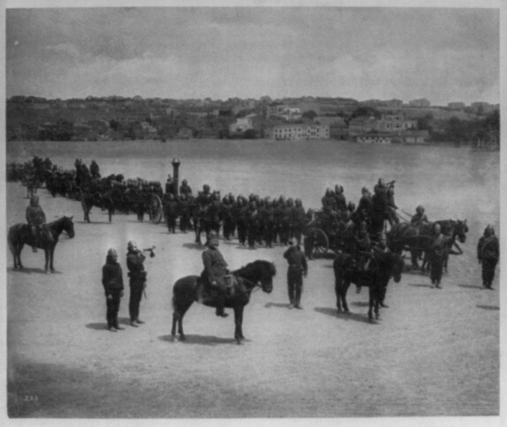 [Position of the First Battalion of the Fire Brigade ready to leave for a fire] / Abdullah Frères, Phot., Constantinople