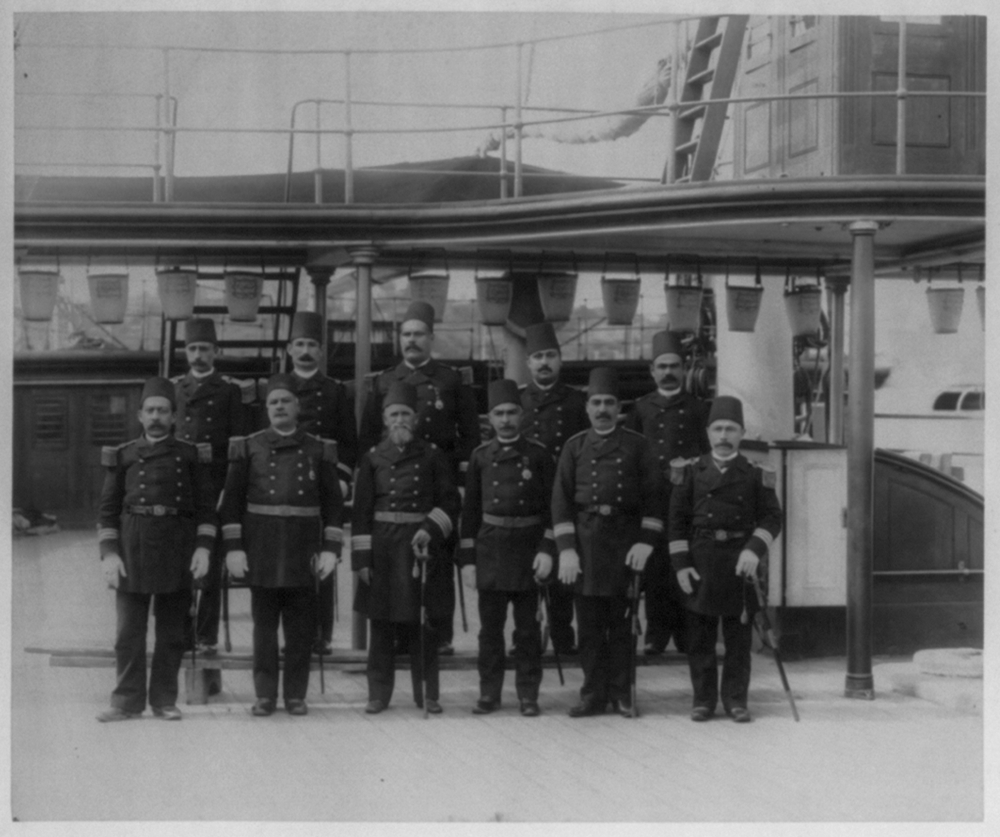 [The commanders and officers of the Imperial Ironclad Frigate Mes'udiye] / Constantinople, Abdullah Frères
