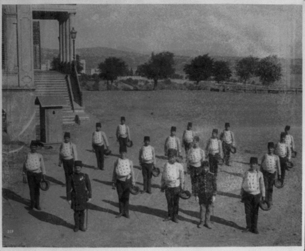 [The students at the Imperial Military Academy preparing for a sword drill] / Abdullah Frères, Phot., Constantinople
