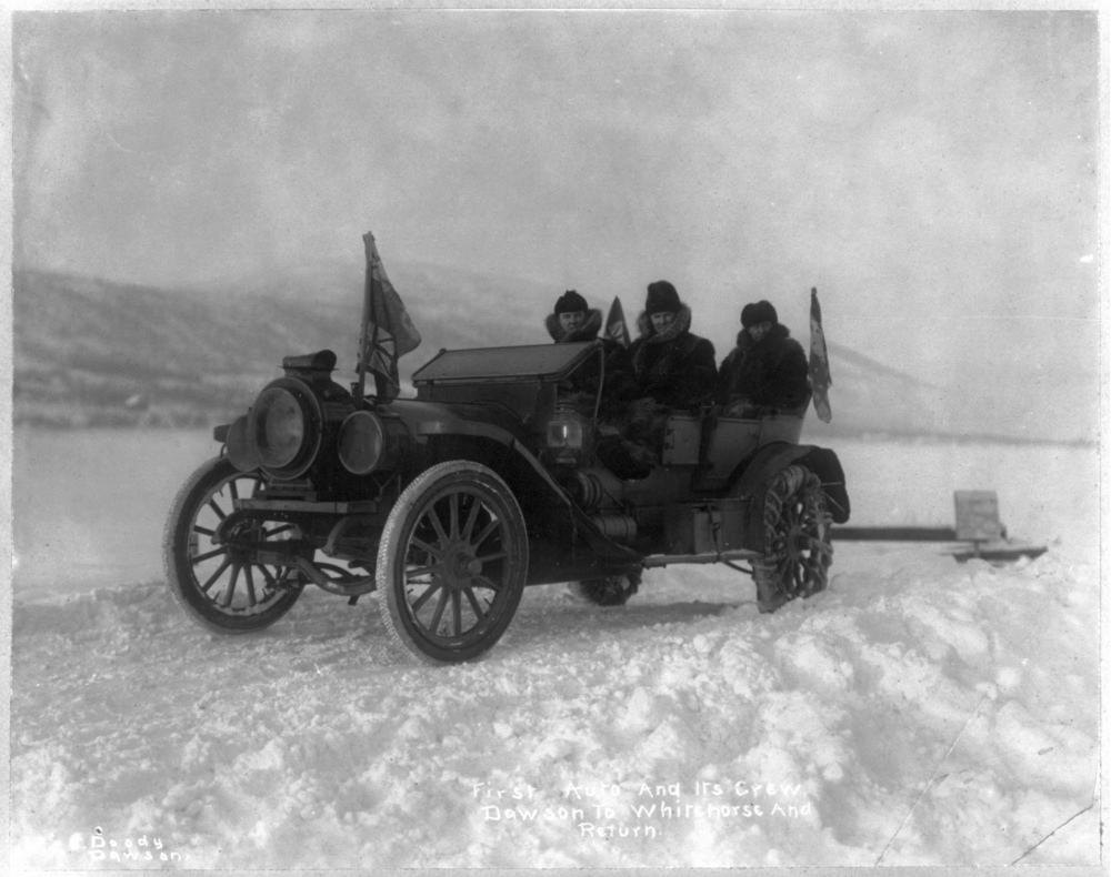 First auto and its crew to go from Dawson to Whitehorse and return