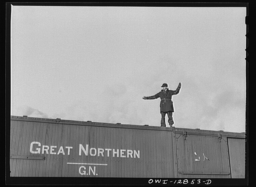 Chicago, Illinois. Riding a car in one of the Chicago and Northwestern Railroad