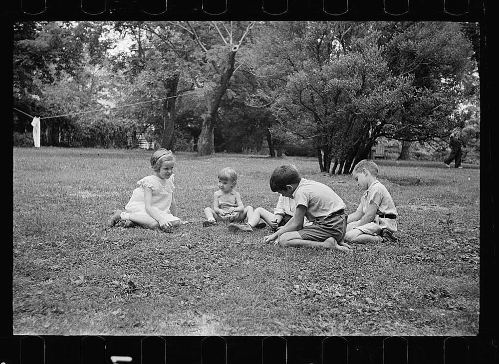 Healthy children in clean backyard, Washington