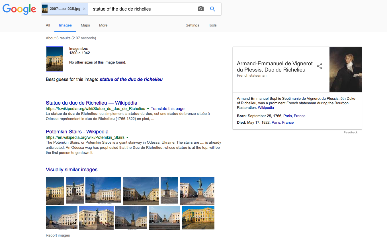 The Richelieu statue correctly identified by Google.