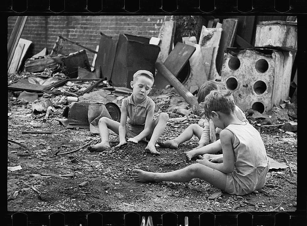 Slum children at play, Washington