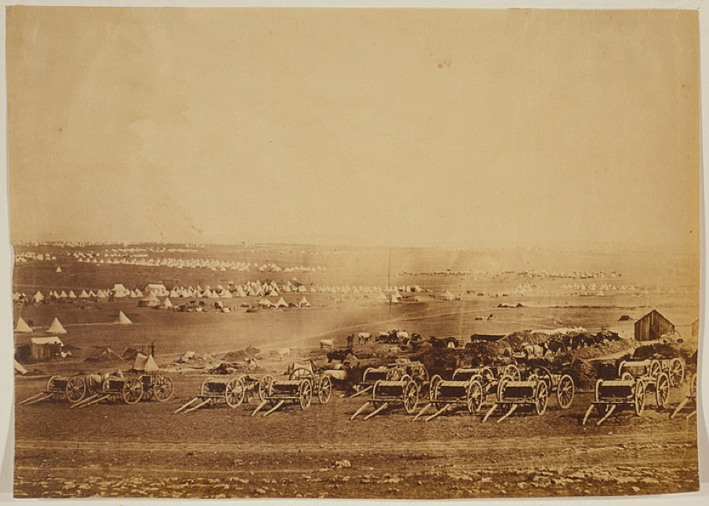 Kamara Heights in the distance, artillery waggons in the foreground