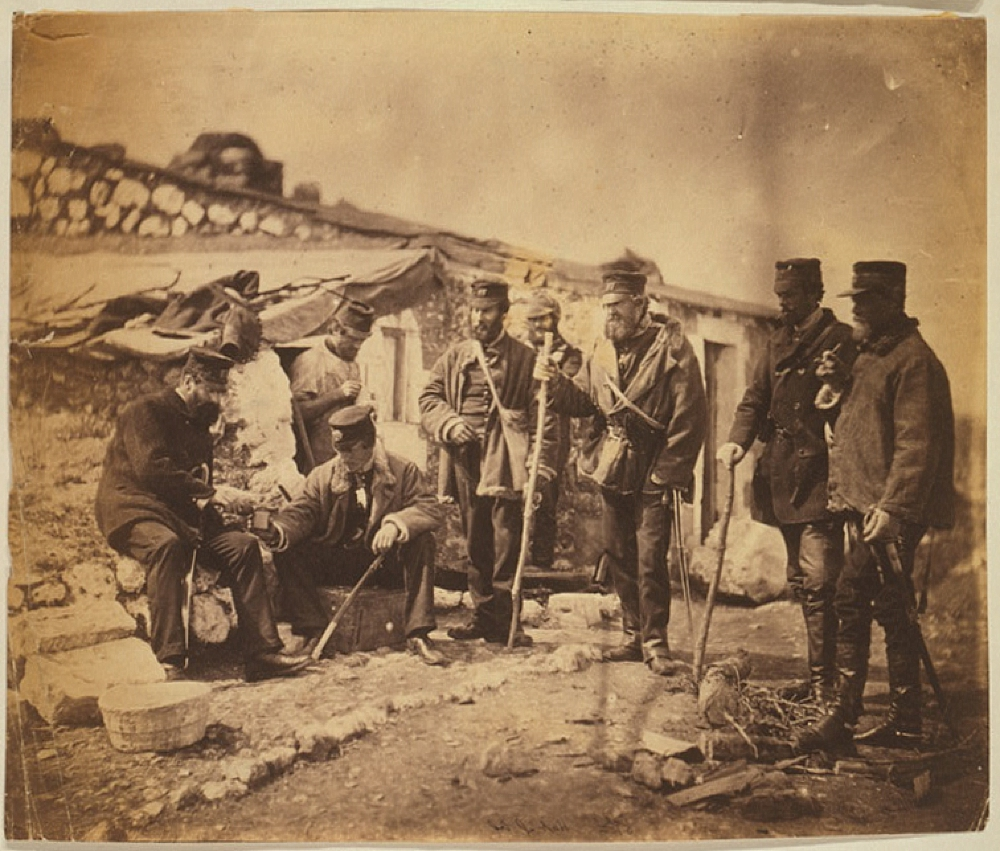 Lieutenant-colonel Shadforth at his hut & officers of the 57th Regiment