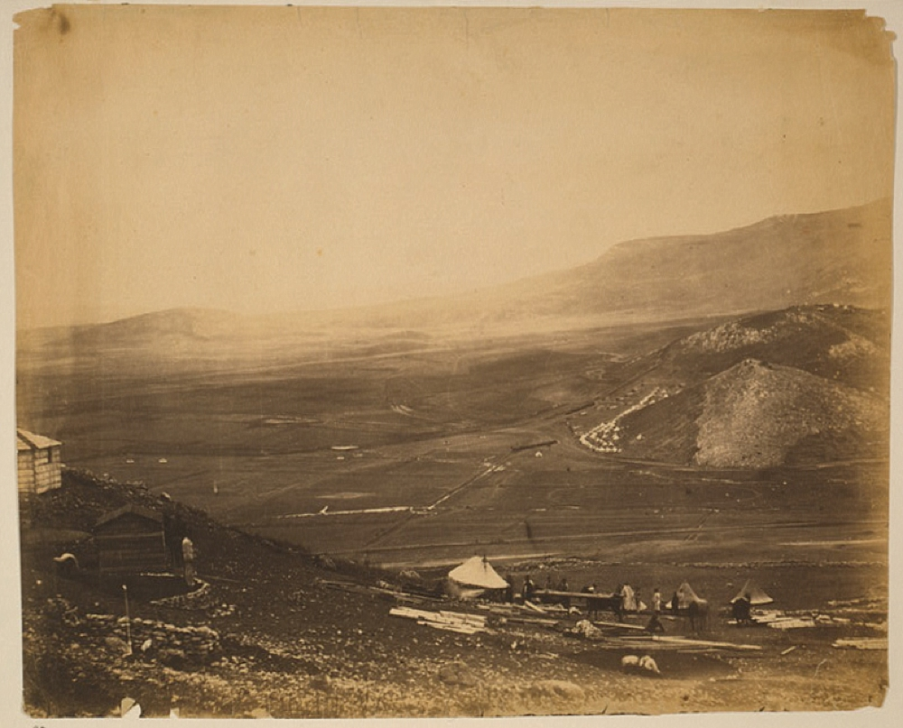 View of the lines of Balaclava from Guard's Hill; Canrobert's Hill in the distance