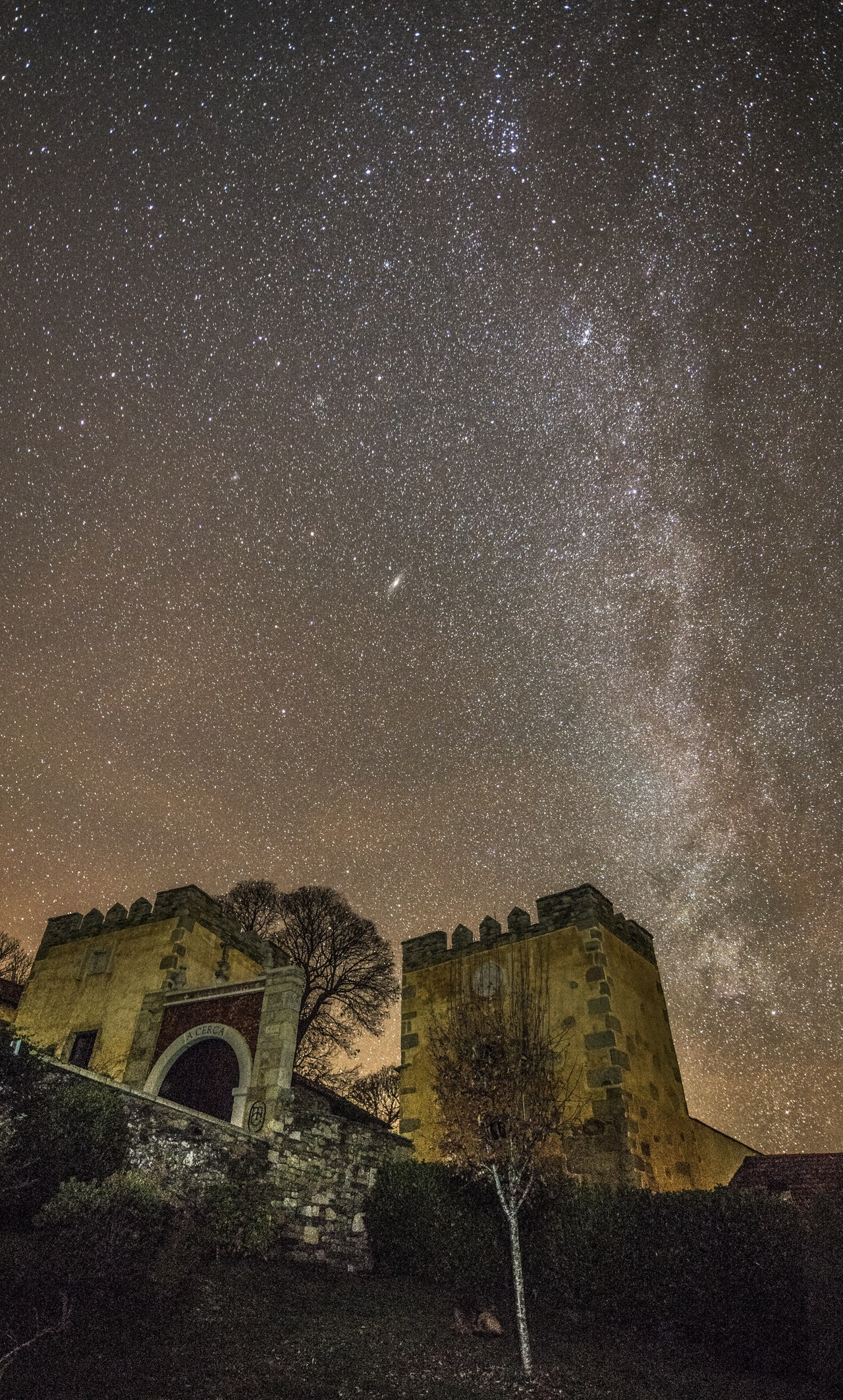 milky way above castle